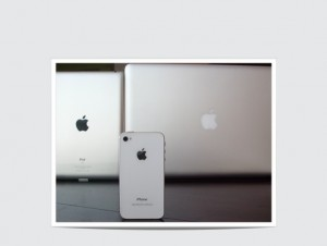 Apple IPad 2, Apple iPhone 4S, and Mac Book. All ongoing innovations of the 21st century. (Photo by: Robin Hamilton, Full Sail University)